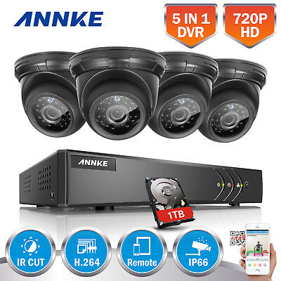 ANNKE 8CH DVR 5in1 720P Video 1500TVL Outdoor IR CCTV Camera Security System 1TB