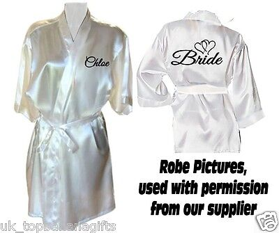 Personalised Satin Wedding Robe / Robes / Dressing Gown - Bride Bridal Party