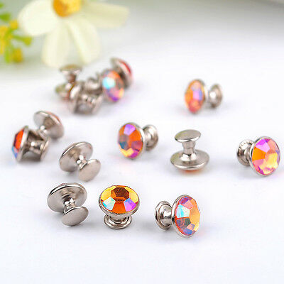 DIY 8mm Diamante Rivets for Leather Craft - multicolor Acrylic colours ZD35B