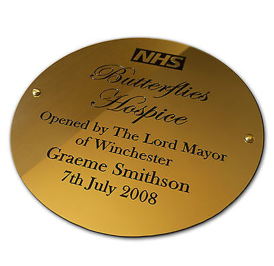 "6"" circular Brass Engraved Plaque/Name plate. Deep Engraving in Solid Brass"