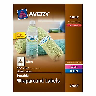 Avery Durable Wraparound Labels, 9.75 x 1.25 inches,White,Pack of 40 (22845) NEW