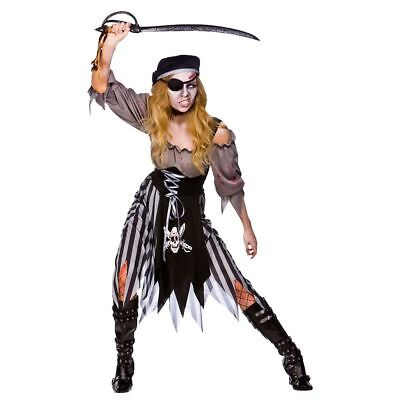 Ladies Zombie Cutthroat Pirate Costume Womens Halloween Fancy Dress Outfit