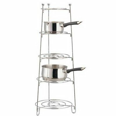5 Tier Chrome Saucepan Pot Frying Pan Storage Stand Rack Holder Kitchen