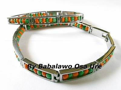 Idde Orunmila Orange Green Beads,Open, Ilde, Stainless Steel, Babalawo, Orula