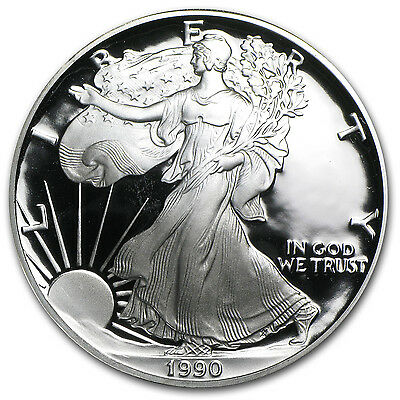 1990-S 1 oz Proof Silver American Eagle Coin - Box and Certificate - SKU #1080