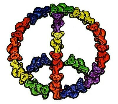 """(#OO) Grateful Dead DANCING BEAR PEACE SIGN sew / iron on patch 3"""" (AF28)"""