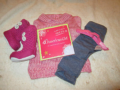 Retired My American Girl Doll Pink Cozy Sweater Outfit Shoes Charm Clothes MYAG