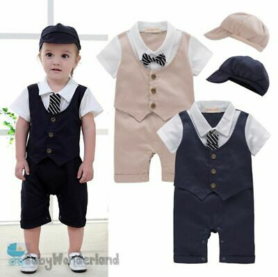 Baby Boys Christening Wedding Tuxedo Party 3 Pcs Set Jumpsuit+Tie+Hat Size 0,1,2