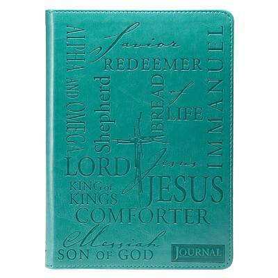 Names of Jesus Turquoise Journal, Ribbon marker, Inspirational script, 416 Pgs.
