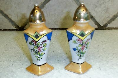 Japan Lusterware Floral Flower Salt & Pepper Shakers Vintage