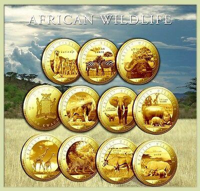 2014 10 COIN SET ZAMBIA AFRICAN WILDLIFE ANIMALS 1000 KWACHA 3.11GR 999 GOLD/SET