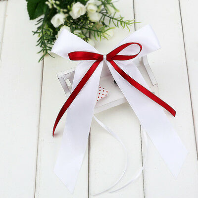 10 White Red Ribbon Bow Kit For Wedding Car Decoration Pew Door Party Prom