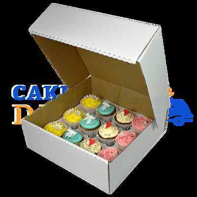 100 X 12 Cupcake (Corr) White Extra Deep Box with 6cm Div FREE NEXT DAY DELIVERY