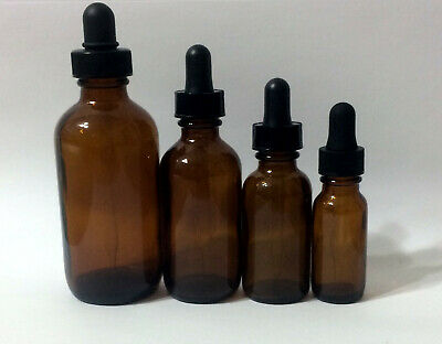 NEW Boston Round Amber Brown Glass Bottle with Dropper 1/2,1,2,4 Oz half ounce