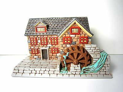 Vintage 1980 Ceramic Grist Mill Wheel USA Christmas Village Large House Train RR