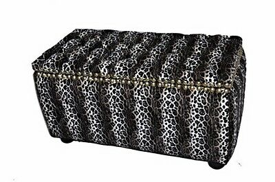 Moroccan African Leopard Furry Large Chest Trunk Ottoman Seat Pouf Storage Box