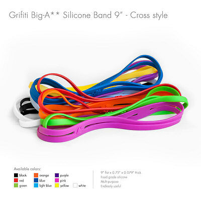 "Grifiti Big-Ass Bands X Cross Style 9"" 5 Pack Silicone Replace Rubber Elastic"