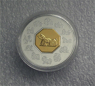 1999 Canada Silver 15 Dollars Lunar Year Of The Rabbit 24K Gold Plated