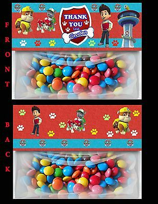 Paw Patrol Zip Lock Bag Toppers, Bag Toppers, Goodie Bag Tags, Chase, Birthday