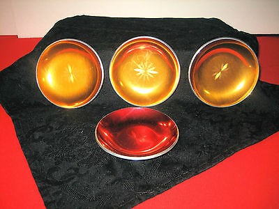 4 MCM DESIGN OLDEN NORWAY 1 RED 3 GOLD ENAMEL ALUMINUN COASTERS PIN DISH TRAYS