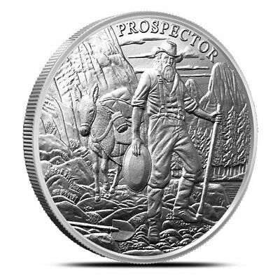 2016 Prospector 1 oz .999 Silver BU Round USA Bullion Coin With Colt 45 Privy