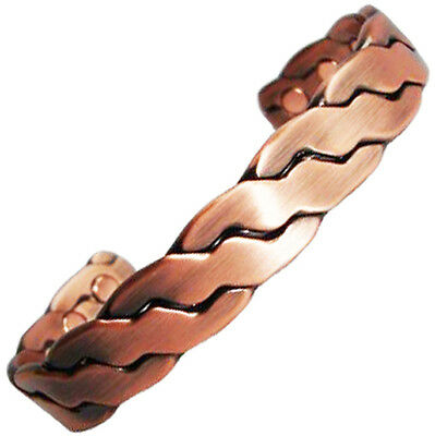 Magnetic Mens Bracelet Chunky Copper Gold Silver Bangle Arthritis Magnetic Bio