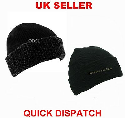 Mens Womens Thinsulate Lined Insulated Winter Ski Beanie Wooly Ribbed Cap Knit