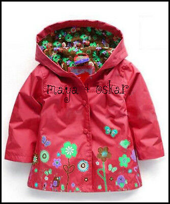 GIRLS RED RAIN MAC COAT SPRING SUMMER JACKET HOOD WINDBREAKER FLOWERS 18m - 6yrs