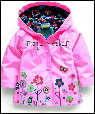 GIRLS PINK RAIN MAC COAT SPRING SUMMER JACKET HOOD WINDBREAKER FLOWER 12m - 6yrs