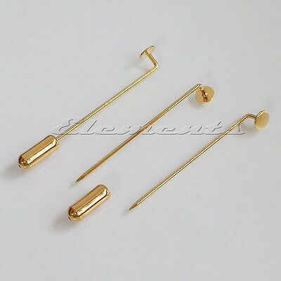 Gold Plated Stick Pins With Flat Pad with or without Protectors Brooch Pins