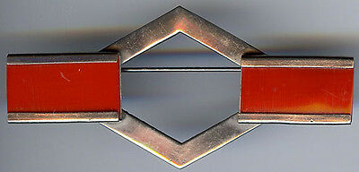 Vintage 1930's Art Deco Chrome & Red Bakelite Era Plastic Geometric Bar Pin