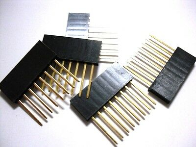 """10 Pieces 10mm Long Pin 8-Pin 1x8 Single Row Female 0.1"""" 2.54mm Pitch Pin Header"""