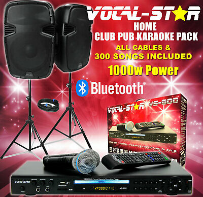 Vs-800 Karaoke Machine 200W Tower Speaker Set With Bluetooth 300 Songs & 2 Mics