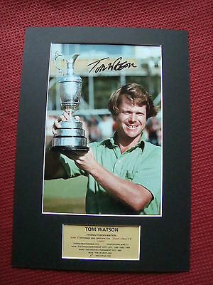 Tom Watson Golf Genuine Signed The Open 1977 A3 Mounted Photo Display- Proof-Coa