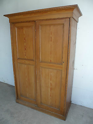 A Top Quality Originally Painted Victorian 2 Sliding Door Hall Wardrobe