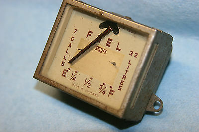 Vintage Smiths Fuel Gas Gauge - Square Rectangle - Litres & Gallons - Brown
