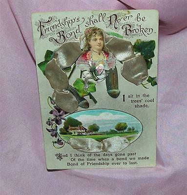 Vtg 1910-15 Novelty Friendship Postcard - Padded, Ribbon, Lacquer, Die Cuts
