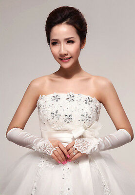 Satins Stretch Lace Fingerless Gloves for Bridal Wedding Party