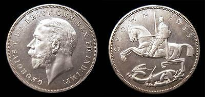 Rare 1935 UK British Silver Crown Specimen Cameo Flashy Uncirculated
