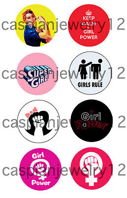 8 piece lot of Girl Power pins buttons badges