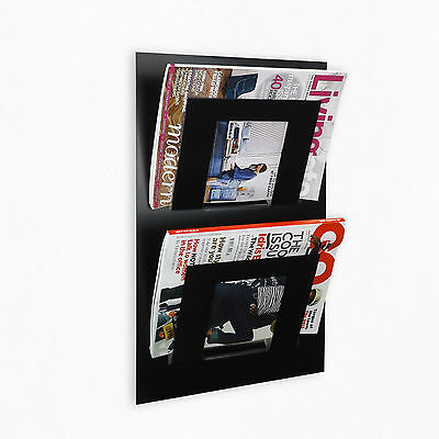 Double Tier Wall Mounted Magazine Newspaper Rack in Black by The Metal House