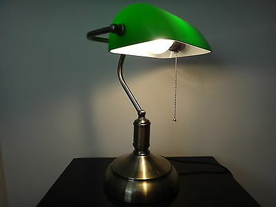 Classic Green Bankers Desk Lamp Pull Switch Vintage Antique Style Table Light