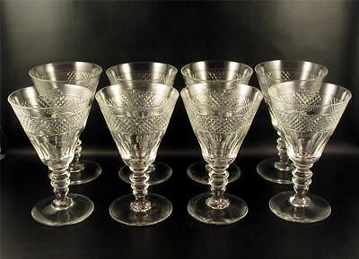 8 Crystal Water Goblets Glasses Cut Diamond Band Vintage Glass  (()