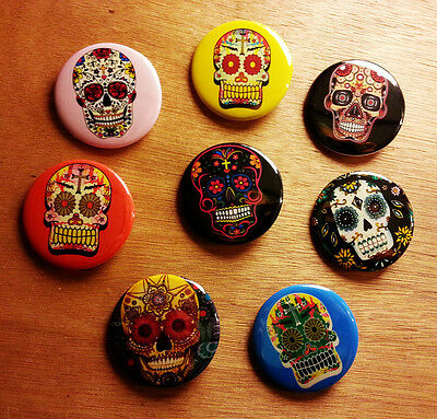 8 piece lot of Day of the Dead / Dia de los Muertos pins buttons badges