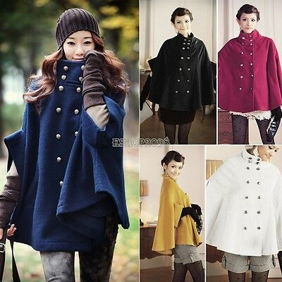 Retro Wool Cape Poncho Cloak Coat Jacket Batwing Double-breasted Outwear EP98