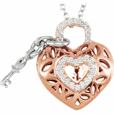 """Sterling Silver w/ Rose Gold 1/6 ct tw Diamond Heart & Key Filigree 18"""" Necklace"""