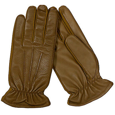 Isotoner Men's Leather Stretch Gloves with Thinsulate Lining Carmel/Tan Md/Lg