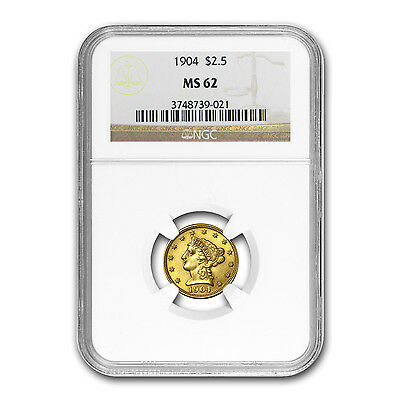 $2.50 Liberty Gold Quarter Eagle Coin - Random Year - MS-62 PCGS/NGC - SKU#18492