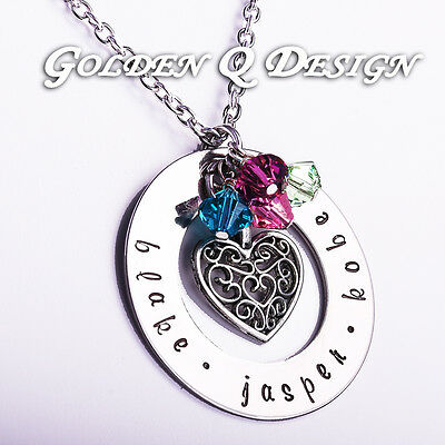 Personalised Hand Stamped Any Name Necklace Heart Pendant Birthday Gift D158