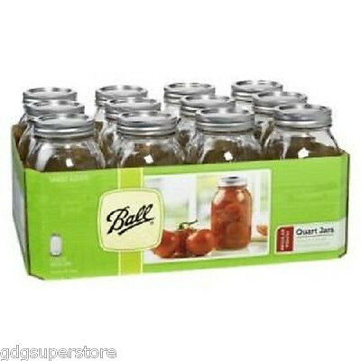Mason 32oz Ball Case of Jars Canning Lids Bands Wedding Preserves Quart Mouth